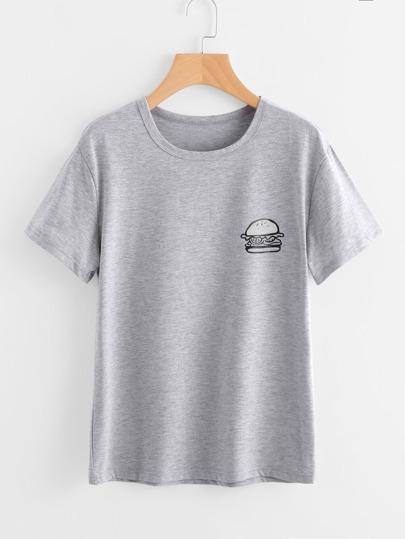 T-shirt con stampa di Hamburger