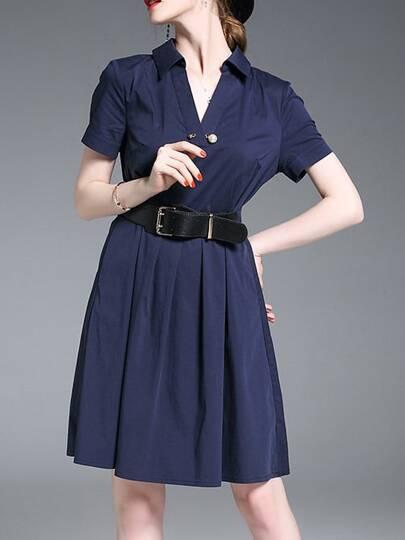 V Neck Belted A-Line Dress