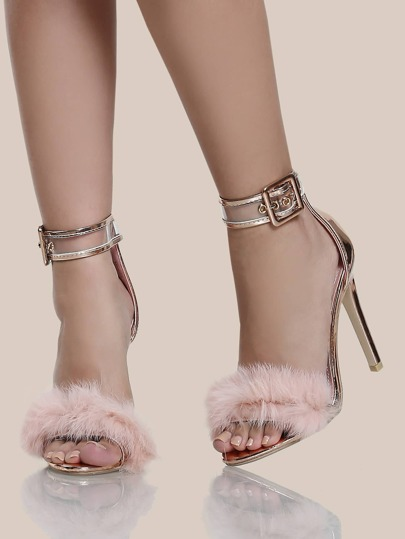 Faux Fur Band Ankle Strap Heels ROSE GOLD