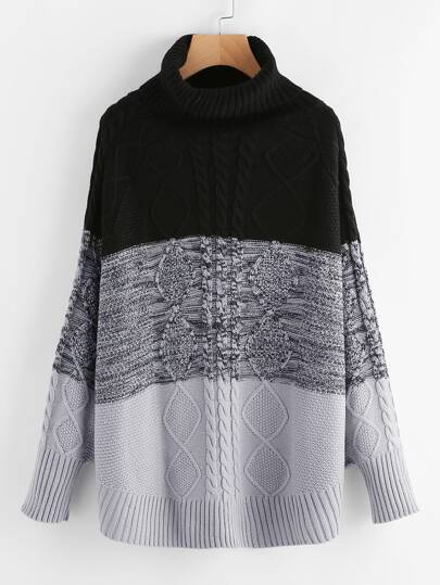 Roll Neck Mixed Knit Jumper