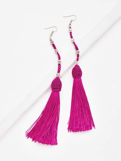 Long Tassel Drop Earrings