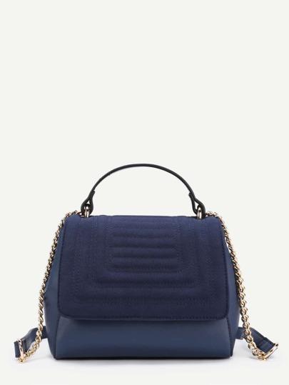 PU Flap Shoulder Bag With Handle