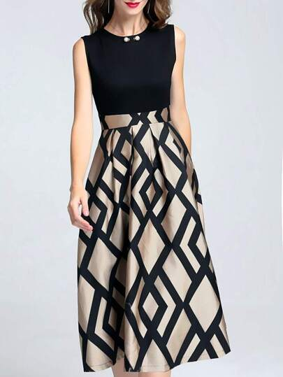 Beading Neck Geometric Print Dress
