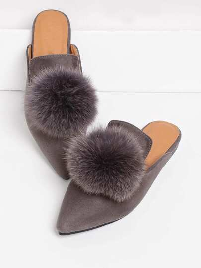 Pom Pom Decorated Pointed Toe Flat Mules