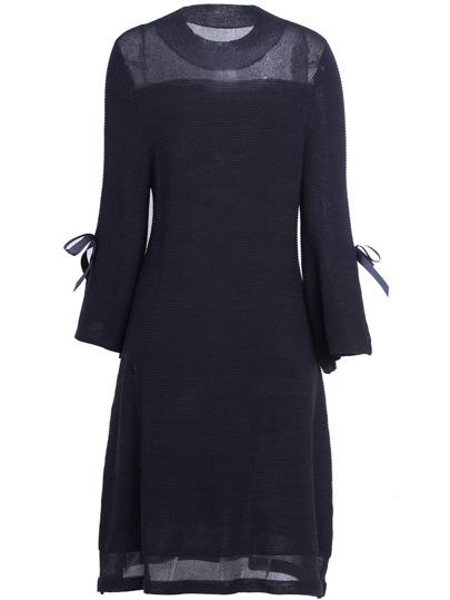 Bowknot Sleeve Knit Sheer Dress