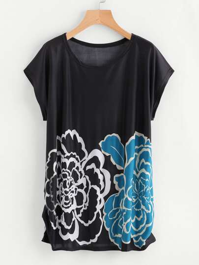 Dolman Sleeve Shirred Side Flower Print Tee