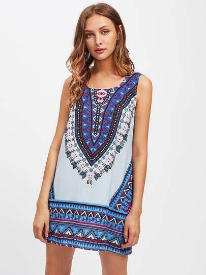 Tribal Print Tank Dress