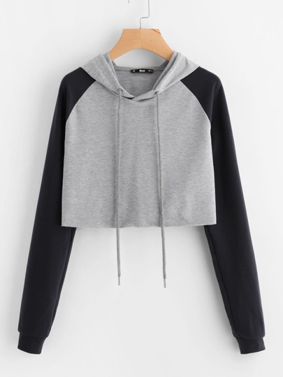 Contrast Raglan Sleeve Raw Hem Heathered Crop Hoodie