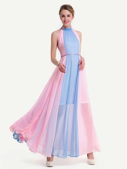 Контрастное шифоновое платье с оборкой