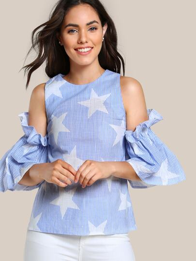 Open Shoulder Frilled Sleeve Top