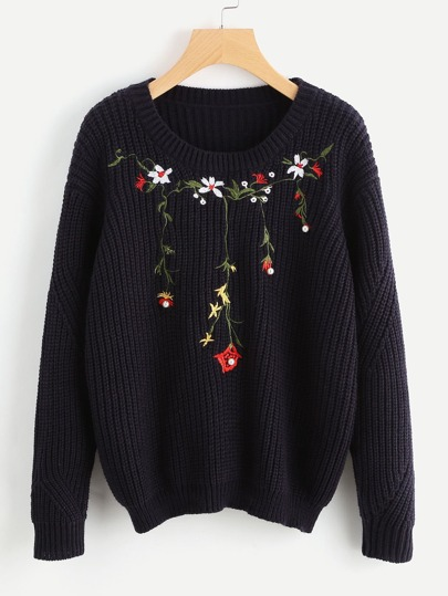 Pearl Beading Flower Blossom Embroidered Jumper