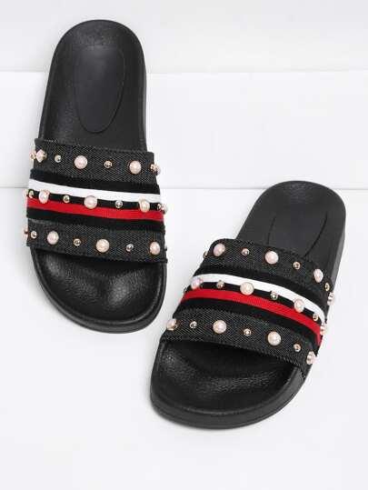 Sandales détail de perle fausse et granule