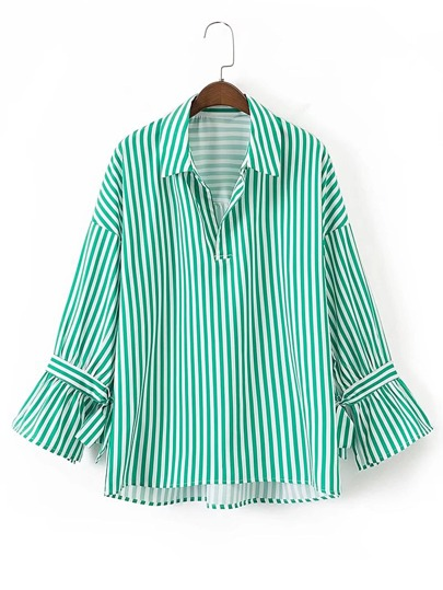 Drop Shoulder Bow Tie Cuff Vertical Striped Blouse