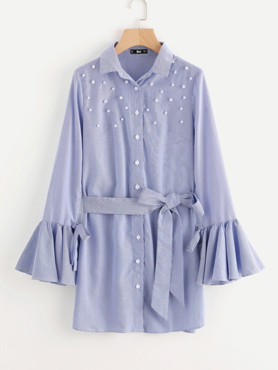 Pearl Beaded Belted Waist And Bell Sleeve Dress