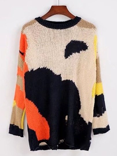 Graphic Pattern Ripped Pullover Sweater