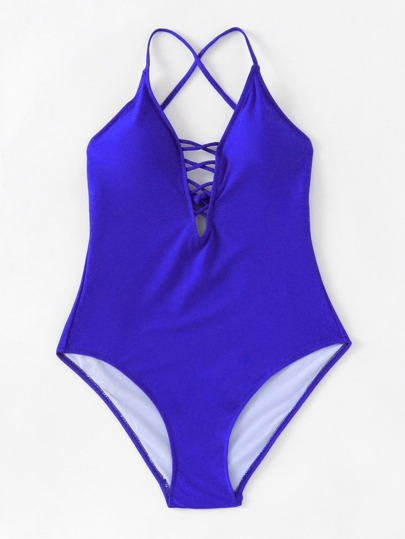 Badeanzug mit Kreuzgurte und V-Ausschnitt