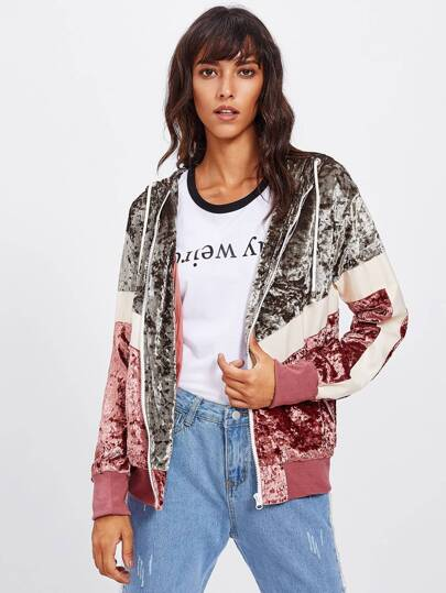 Cut And Sew Crushed Velvet Hooded Jacket