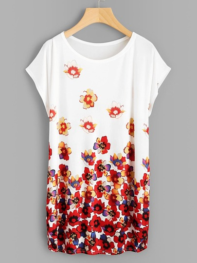 Dolman Sleeve Shirred Side Florals Tee