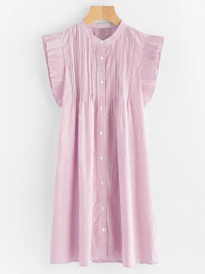 Vertical Striped Frill Trim Shirt Dress