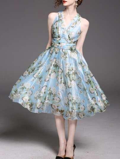 V Neck Floral Tie-Waist Dress