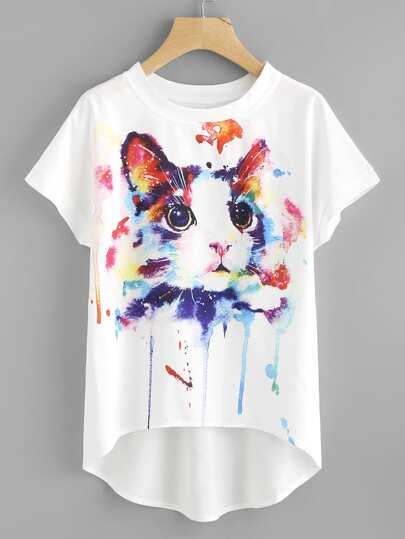 Top trapèze manche chauve-souris imprimé du chat d\'aquarelle