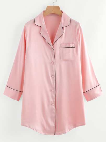 Contrast Trim Satin Pyjama Shirt Dress