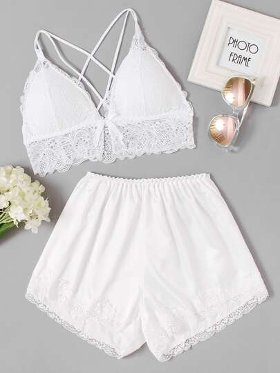 Criss Cross Back Lace Trim Pajama Set