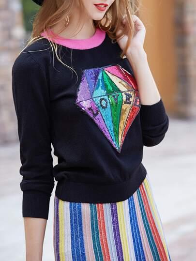 Diamond Color Block Sequined Sweater