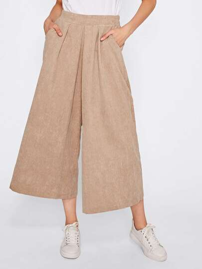 Ribbed Wide Leg Corduroy Pants