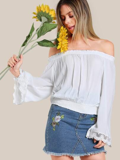 Lace Trim Off Shoulder Top WHITE