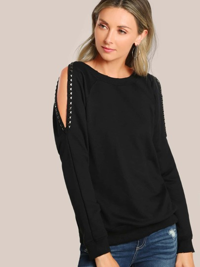 Cold Shoulder Studded Sweatshirt BLACK