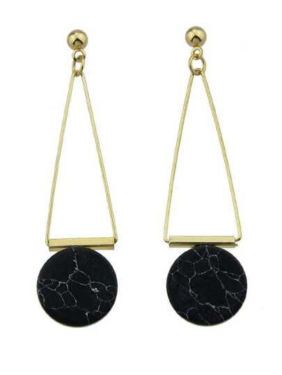 Black Color Gem Pendant With Creative Earrings
