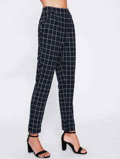 High Waist Grid Peg Pants