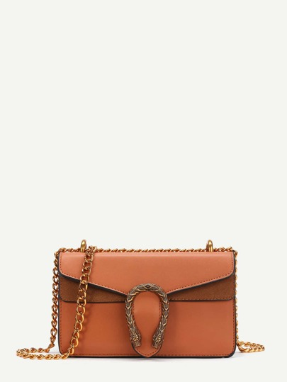 Metal Detail Faux Leather Chain Bag