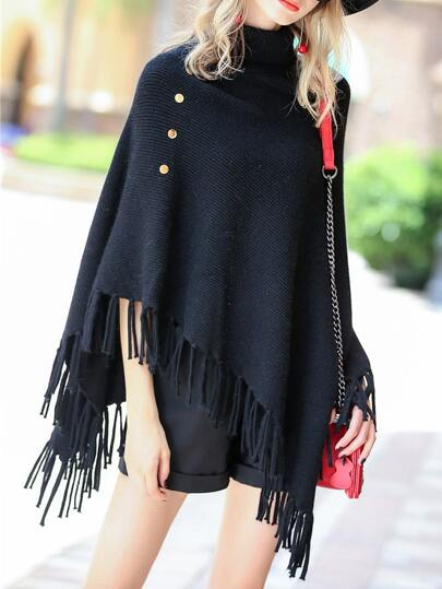 High Neck Asymmetric Fringe Sweater