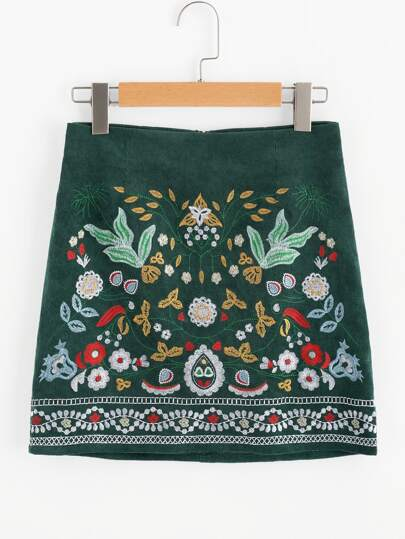 Botanical Embroidered Cord Skirt