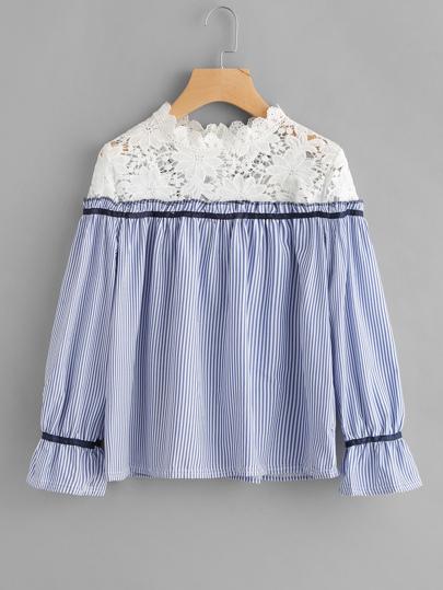 Contrast Crochet Lace Vertical Striped Blouse