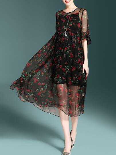 Bell Sleeve Floral Sheer Dress