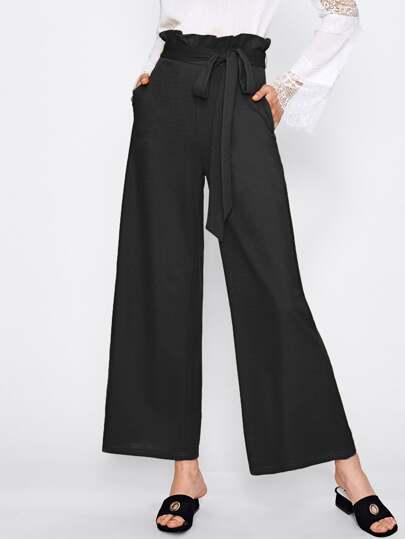 Pantalons avec taille ruché avec ceinture