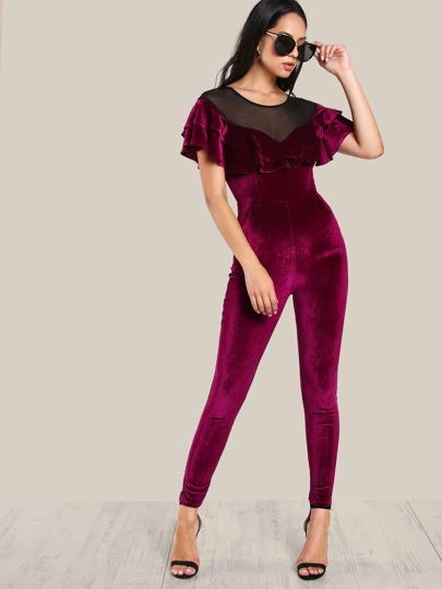 Mesh Shoulder Frill Trim Velvet Jumpsuit