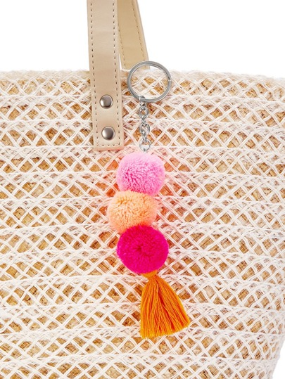 Porte-clés mignon avec des pompons et des franges