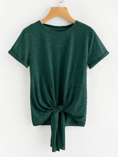 Camiseta de marga con nudo y puño doblado
