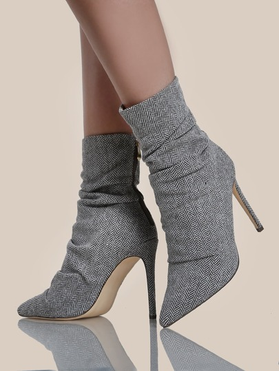 Chevron Print Point Toe Heel Boots TWEED