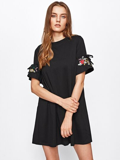Embroidered Drawstring Sleeve Swing Dress