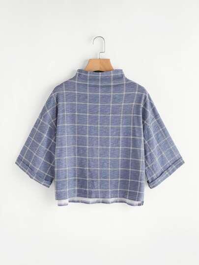 Funnel Neck Drop Shoulder Grid T-shirt
