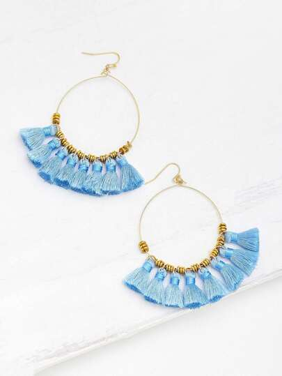 Ring Detail Mini Tassel Drop Earrings