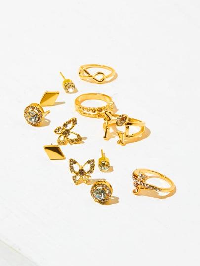 Rhinestone Butterfly Design Stud Earrings & Charm Rings Set