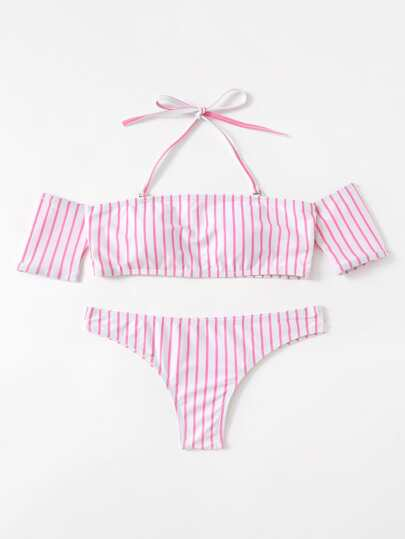 Striped Off The Shoulder Bikini Set With Detachable Strap