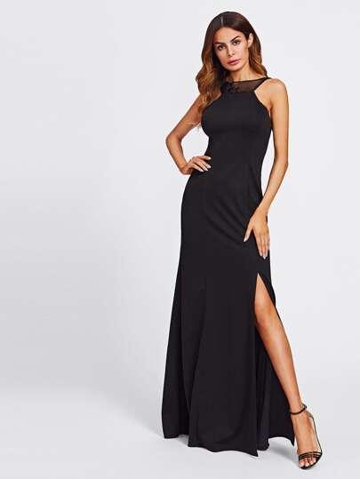 Sequin Mesh Paneled Open Back Split Dress