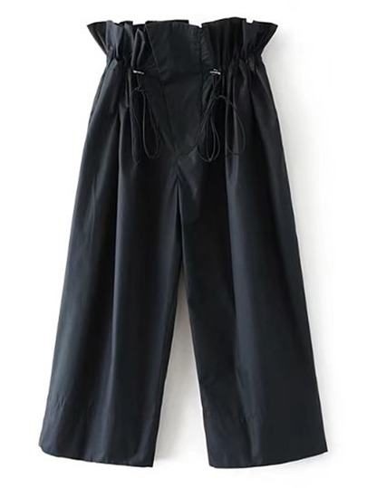 Drawstring Ruffle Waist Culotte Pants